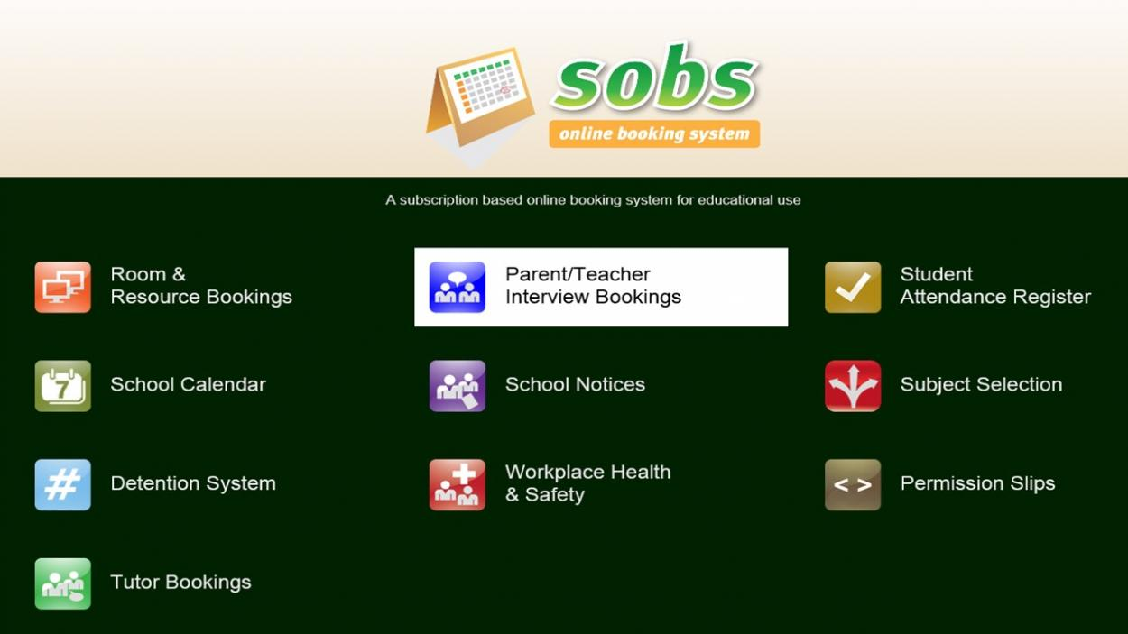 albany creek state school term  sobs is our online booking system we use sobs to set the times that our teachers are available for parent teacher interviews and then we invite parents